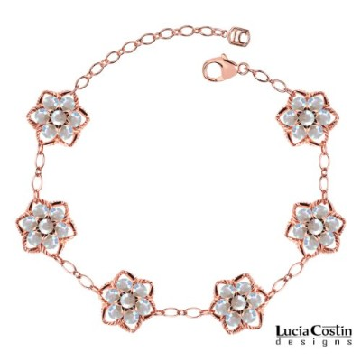 Victorian Style Lucia Costin Flower Bracelet Crafted in 14K Pink Gold Plated over .925 Sterling...