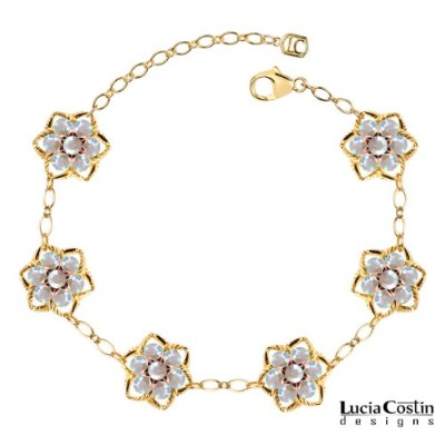 European Inspired Lucia Costin Flower Bracelet Crafted in 14K Yellow and Pink Gold Plated over .925...