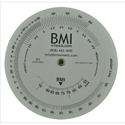 BMI Wheel Calculator 4.25 inch, Single sided, adult,1 Pack by Pharma-Insight Inc.