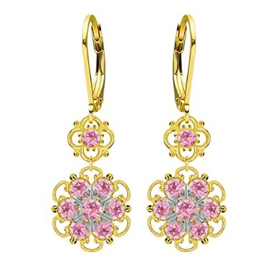 Lucia Costin Silver, Light Pink Swarovski Crystal Earrings with Dots