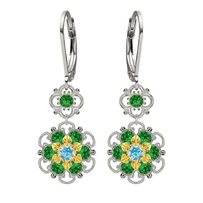 Lucia Costin Silver, Green, Light Blue Crystal Earrings, Cute Enriched