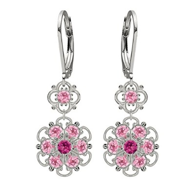 Lucia Costin Silver, Fuchsia, Light Pink Crystal Earrings with Flowers