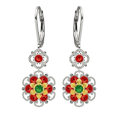 Lucia Costin Silver, Red, Green Swarovski Crystal Earrings, Cute Embellished
