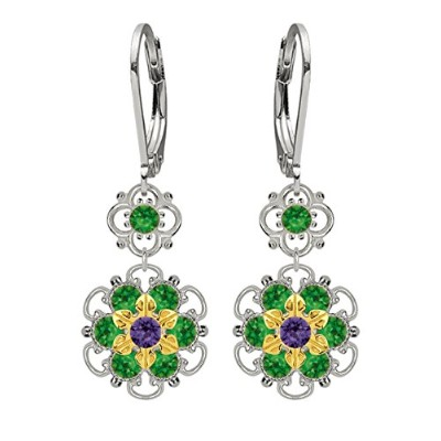Lucia Costin Silver, Green, Violet Crystal Earrings with Twisted Lines