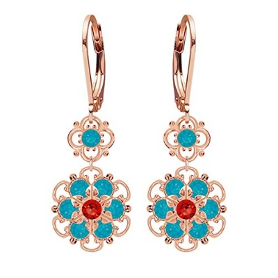 Lucia Costin .925 Silver, Blue, Red Swarovski Crystal Earrings, Irresistible