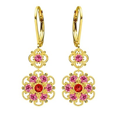 Lucia Costin Silver, Red, Pink Crystal Earrings with Flowers