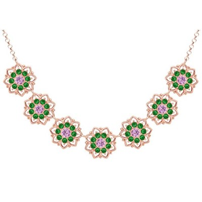Lucia Costin .925 Silver, Green, Lilac Swarovski Crystal Necklace, Splendid