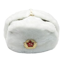 (ウシャンカ ロシア軍 帽子) Fur Russian Hat Ushanka with Removable RED Star Emblem
