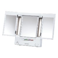 (メイクアップミラー) Jerdon JGL9W Tri-Fold Lighted Mirror with 5x Magnification 4-Light Settings White Finish