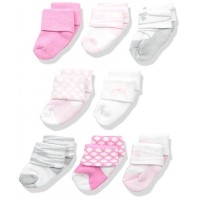 USA Luvable Friends Baby 8 Newborn Socks, Ballet, 0-6 Months (送料無料)