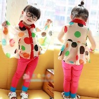 Kids Girls T-shirts Colorful Polka Dot Lapel Collar Chiffon Party Tops 2-7Y