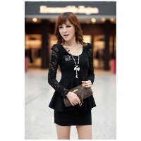 Womens Sexy Dress Long Sleeves Lace Top Peplum Slim Party Cocktail Dress Black