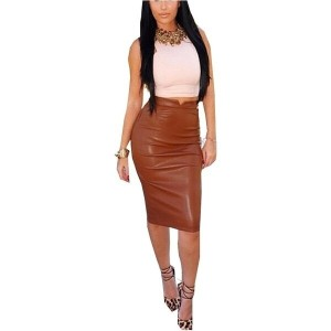 Fashion Women Soft PU Leather Skirt High Waist Slim Hip Pencil Skirts Vintage Bodycon Midi Skirt Sex