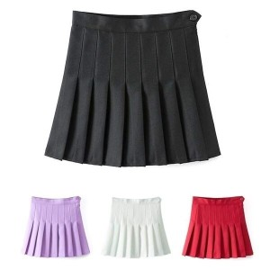 Fashion Sexy Tennis Solid Mini Skirt Women High Waist A-Line Pleated Skirt  AVS