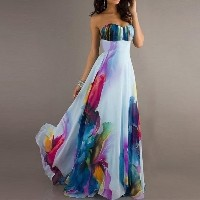 Fashion Sexy Wrapped Chest Sleeveless Off Shoulder Backless Fashion Printing Temperament Maxi Dress