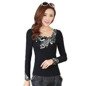 Plus Size Embroidery O-Neck Slim T-Shirt