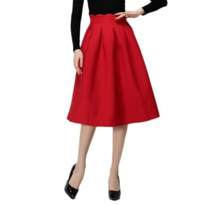 Solid High Waist Brief Skater Skirt
