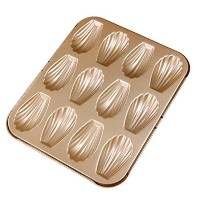 【12-Cup Non-Stick Metallic Madeleine Commercy Pan Mold French Shell Butter Cake Cookies Baking Tin ...