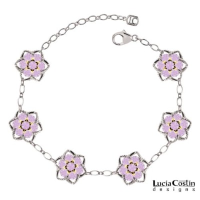 Star Shaped Flower Bracelet Crafted in .925 Sterling Silver by Lucia Costin with Lilac Swarovski...
