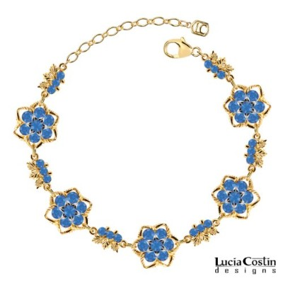 Lucia Costin Feminine Flower Bracelet with Sterling Silver Star Shaped Central Flowers, Blue...