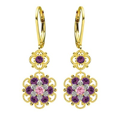 Lucia Costin Silver, Violet, Light Pink Crystal Earrings with Dots