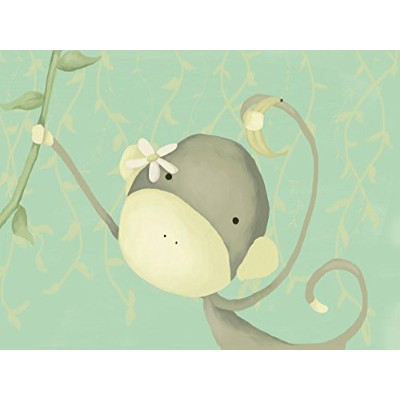 Oopsy daisy dangle monkey stretched canvas wall art by meghann o'hara, 24 by 18-inch by Oopsy Daisy