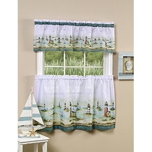High Quality Hamtons Tier and Valance Set, 58-Inch by 24-Inch, Sand