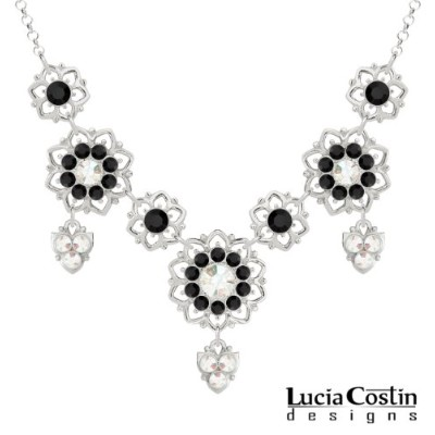 Lucia Costin 6 and 8 Petal Flower Necklace Necklace Made of .925 Sterling Silver with White and...