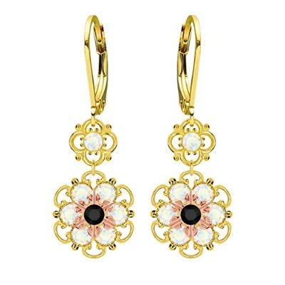 Lucia Costin Silver, Black, White Crystal Earrings with Flowers