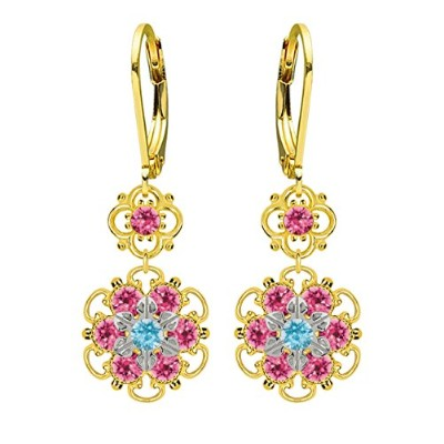 Lucia Costin Silver, Light Blue, Pink Crystal Earrings with Flowers