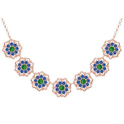 Lucia Costin .925 Silver, Blue, Green Swarovski Crystal Necklace, Graceful