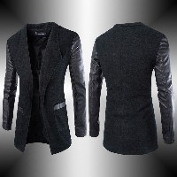 Fashion Mens Leather Sleeve Slim Trench Coat Winter Outwear Long Jacket