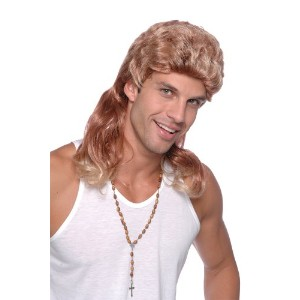 Bristol Novelty Blonde/Brown Mullet Wig. 2 Tone Budget Wigs - Men's - One Size