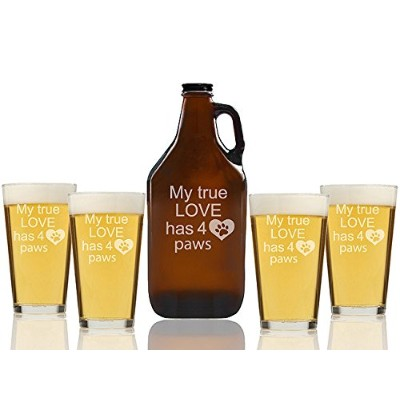 """Chloe and Madison """" My true Love has 4Paws """"ビールAmber Growler & Pint Glasses、5のセット"""