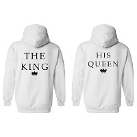 The King His Queen Crown Minimal Couple Matching Valentines Love White Men Women Unisex Hooded...