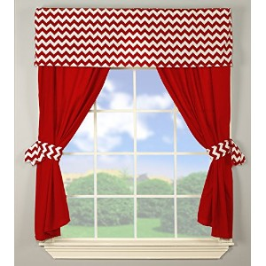 Baby Doll Bedding Chevron Window Valance and Curtain Set, Red by BabyDoll Bedding