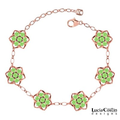 Star Shaped Flower Bracelet by Lucia Costin Crafted in 14K Pink Gold Plated over .925 Sterling...