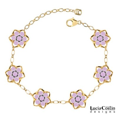 Star Shaped Flower Bracelet by Lucia Costin with Lilac Swarovski Crystals and Sterling Silver...