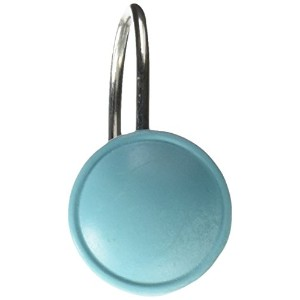 Carnation Home Fashions Color Rounds Resin Shower Curtain Hooks, Spa Blue, Set of 12 by Carnation...