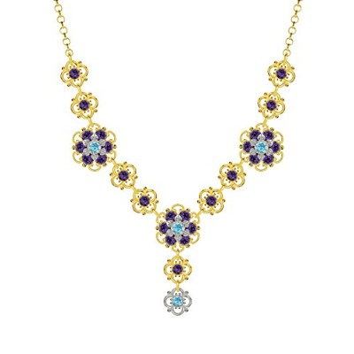 Lucia Costin .925 Silver, Violet, Light Blue Crystal Necklace, Glamorous