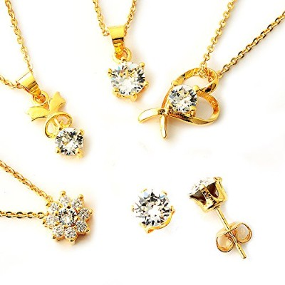 One&Only Jewellery 【SWAROVSKI福袋】 豪華5点セット スワロフスキー エレメンツ ネックレス ペンダント イエロー K18GP 正規ストーン採用 (ピアスセット)