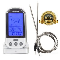 【Zvation Wireless Meat Thermometer - BBQ, Grill, Smoker or Oven Cooking Wireless Long Range Digital...