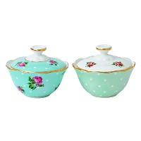 【Royal Albert New Country Roses Tea Party Mixed Patterns Condiment Pots (Set of 2), 2.9 oz,...