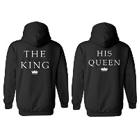 The King His Queen Crown Minimal Couple Matching Valentines Love Black Men Women Unisex Hooded...