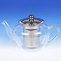 High Quality Transparent Glass Tea Pot with Stainless Steel Lid & Filter, 600ml/ 20 oz