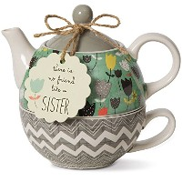 High Quality 74069 Bloom Sister Ceramic Tea for One, 15 oz, Multicolor