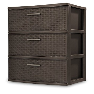 High Quality 25306P01 3 Drawer Wide Weave Tower, Espresso Frame & Drawers w/ Driftwood Handles, 1...