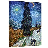 High Quality Country Road in Provence by Night by Vincent Van Gogh Gallery Wrapped Canvas, 14 by 18...