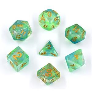 Polyhedral Gaming Dice Completeセットof 7-die Dice – d4 d6 d8 d10 d12 d20ダイス& percentile – Great...