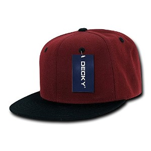 Decky 351-CARBLK Two Tone Flat Bill Snapbacks, Cardinal Black